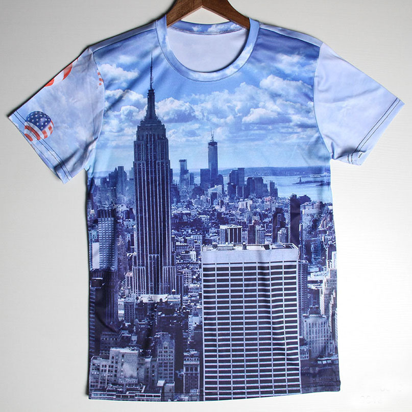 T Shirt Design York: Famous Building Print New York City Men T Shirts Short