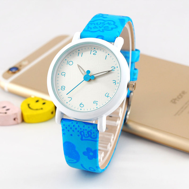 New Fashion Cute Children Watches Waterproof Four Colors Comfortable Leather Belt Watch Girls And Boys Quartz Watch Gift Relogio