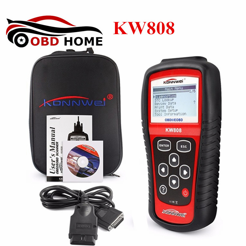 High Quality KONNWEI KW808 OBDII/EOBD Auto Code Reader Function Same as MS509 Work for US, Asian & European Vehicles KW808
