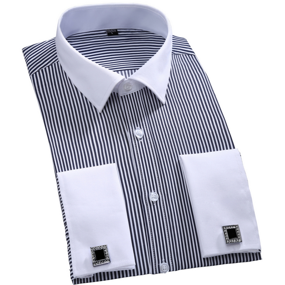 2016 new cufflinks men dress shirts fashion formal for Mens dress shirts with different colored cuffs and collars