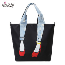 Fashion Waterproof Oxford Cloth Women Shoulder Bag Fashion Denim Patchwork Handbags Ladies Crossbody Bags Beauty Jeans with hole(China)