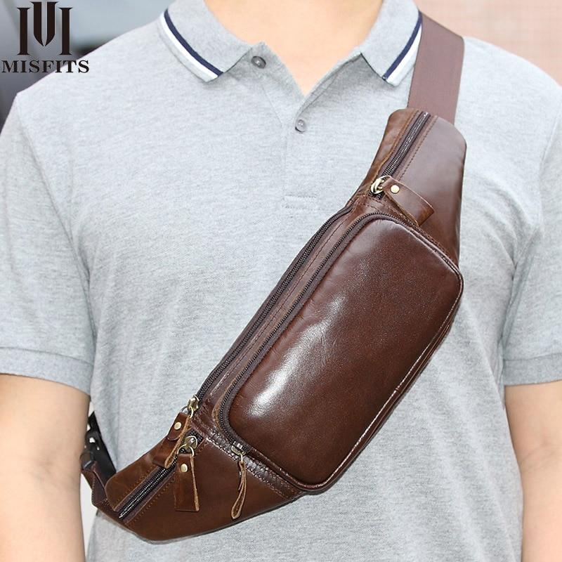 MISFITS genuine cow leather waist pack men brand bag vintage hip messenger belt phone pouch small fanny chest