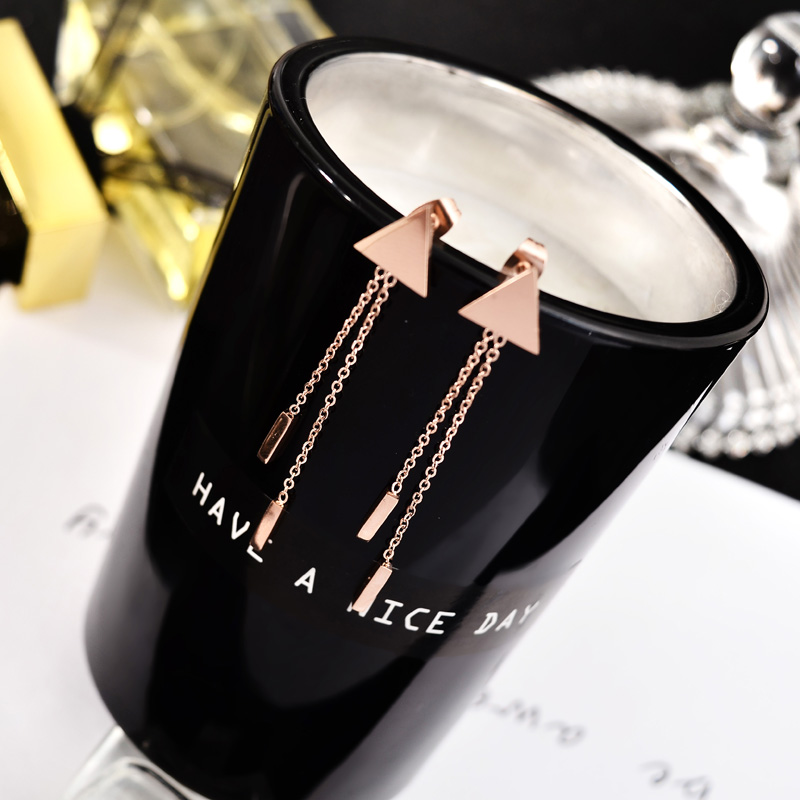 YUNRUO Fashion Brand Rose Gold Color Triangle Tassel Stud Earring for Woman Man Couple 316 L Stainless Steel Jewelry Never Fade