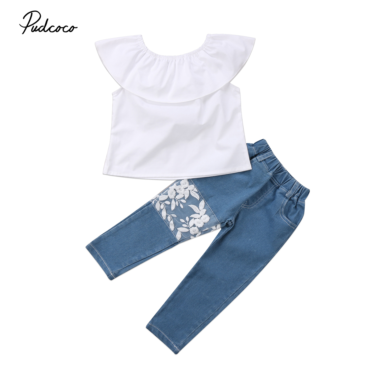 2018 Brand New Newborn Toddler Infant Child Baby Kids Girls Lace Outfits Off Shoulder Top Jeans Denim Pants Fashion Clothes 0-5T tangnest stylish distressed women jeans 2017 new fashion brand ripped jean pants capris casual wear denim trousers wkn478