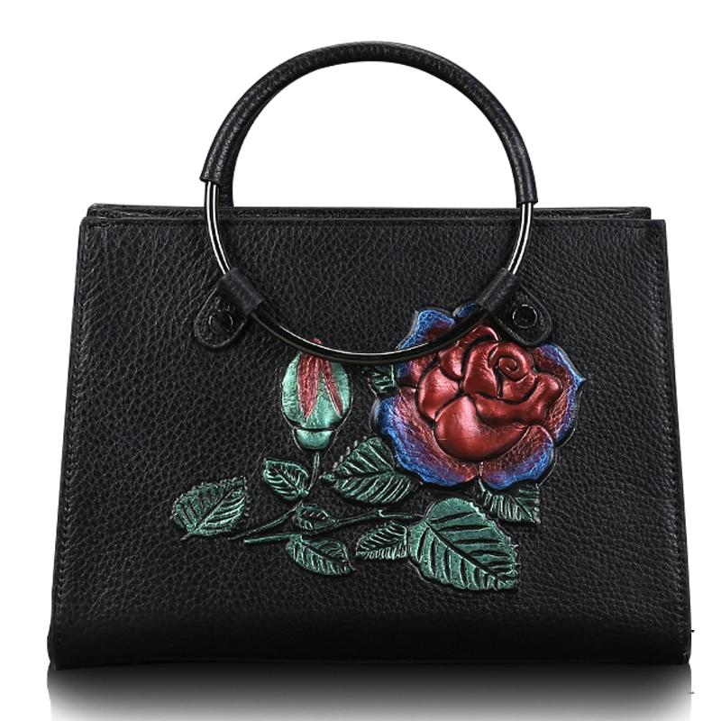 цена Real Cow Leather Pure Hand-made Ladies HandBags Women Genuine Leather bags Totes Messenger Bags Hign Quality Luxury Brand Bag онлайн в 2017 году