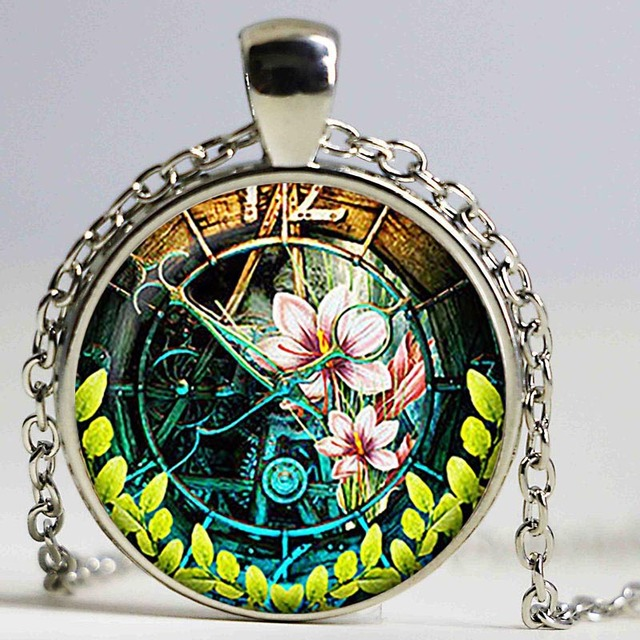 Steampunk Clock Pendant Watch Necklace Art Retro Jewelry Birthday Gift