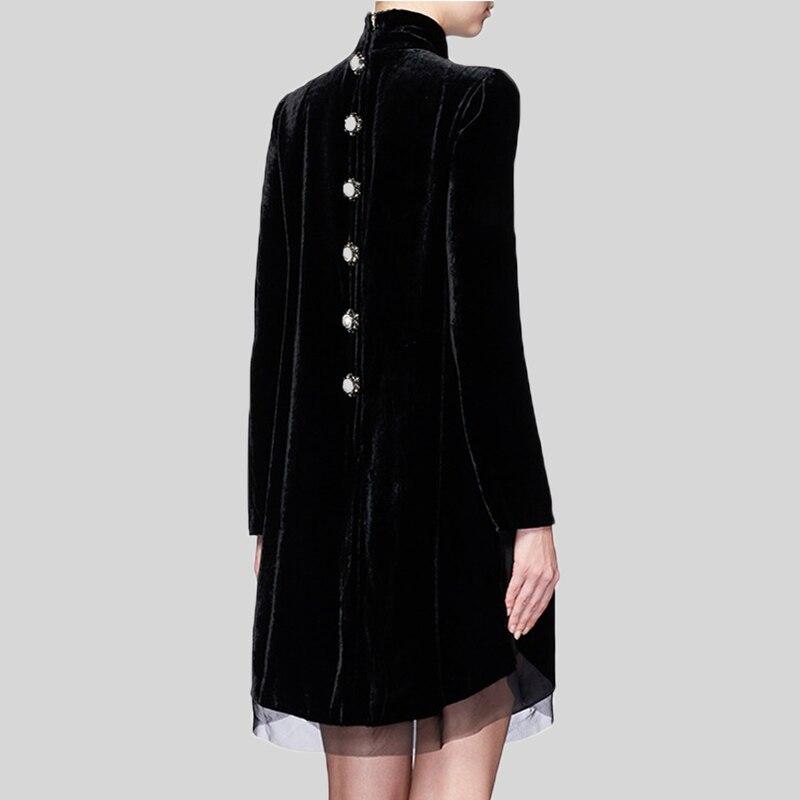 Kadın Giyim'ten Elbiseler'de Lüks Tasarım Kadınlar Zarif bahar uzun kollu elbise Standı Yaka Ince Düz Rahat Elbiseler Vintage Kadife Boncuk Elbise Vestido'da  Grup 2