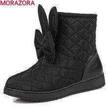 Morazora/Новинка 2017 Года России зимние теплые зимние ботинки с круглым носком ботильоны для женская обувь с бантом Милая обувь для девочек