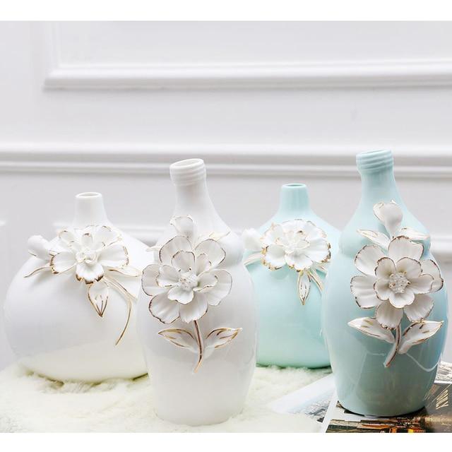 Europäischen Modernen Mode Keramik Blume Vase Schnitzen Muster