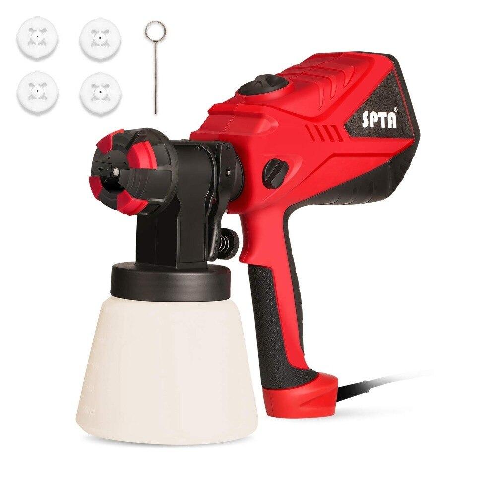 SPTA Electric Spray Gun 1000ML/Min Paint Sprayer+3 Spray Patterns 3 Nozzles Adjustable Valve Knob+Easy Filling ContainerSPTA Electric Spray Gun 1000ML/Min Paint Sprayer+3 Spray Patterns 3 Nozzles Adjustable Valve Knob+Easy Filling Container