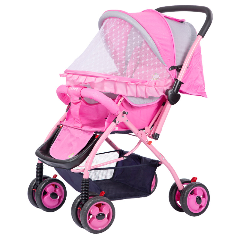 Summer Baby Carriage with Mosquito Net Travel Folding Four Wheels Cart Reverse Handle Baby Stroller Full Cover Pram Pushchair baby stroller pushchair mosquito insect shield net safe infants protection mesh stroller accessories mosquito net trq0085