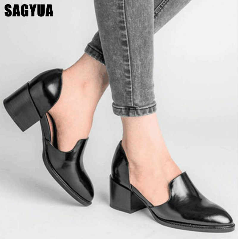 Big size women casual shoes Pointed Square heel Loafers Ladies Shallow High Heels shoes woman Slip on Wedding party Pumps A56