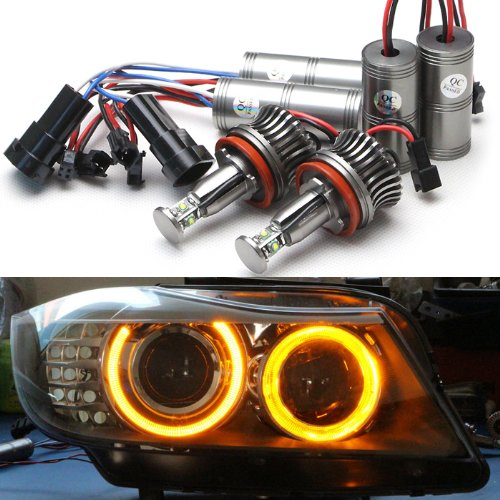 Bright Amber Color Cree Chips LED Angel Eye Halo Light H8 No Error for BMW 1 3 5 6 X Z Series E90 E92 328i 335i M3 E93 M6 X5 X6