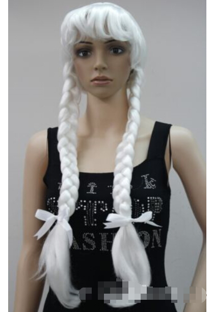 Lower Price with Express To Usa Russia New Silver White Fancy Dress Cosplay Long Double Braids Christmas Grandmother Wig Hivision