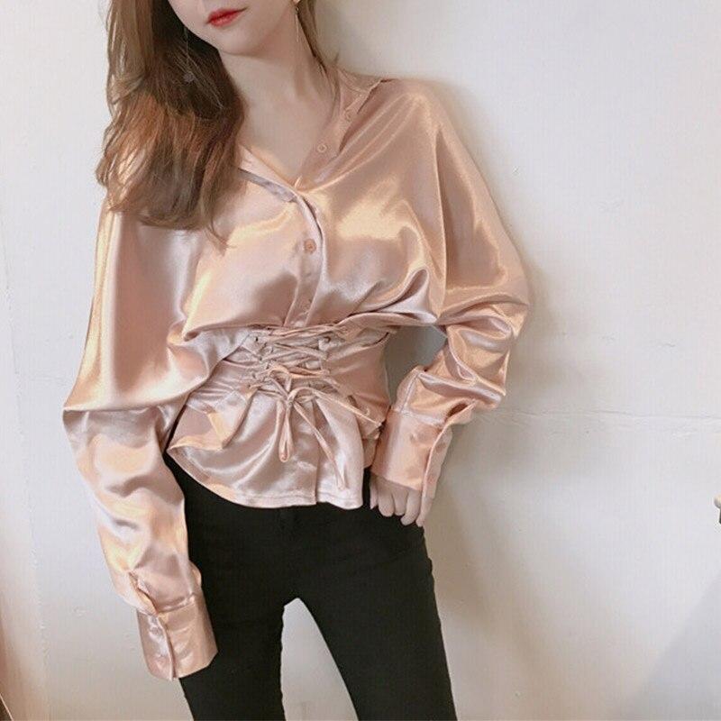 Pink Sexy Las Camisa Damas Casual De Cintura Mujeres Tops La gold Cruz Blusas Larga Corbata Nueva Manga Primavera Moda Alta rUFrnxq