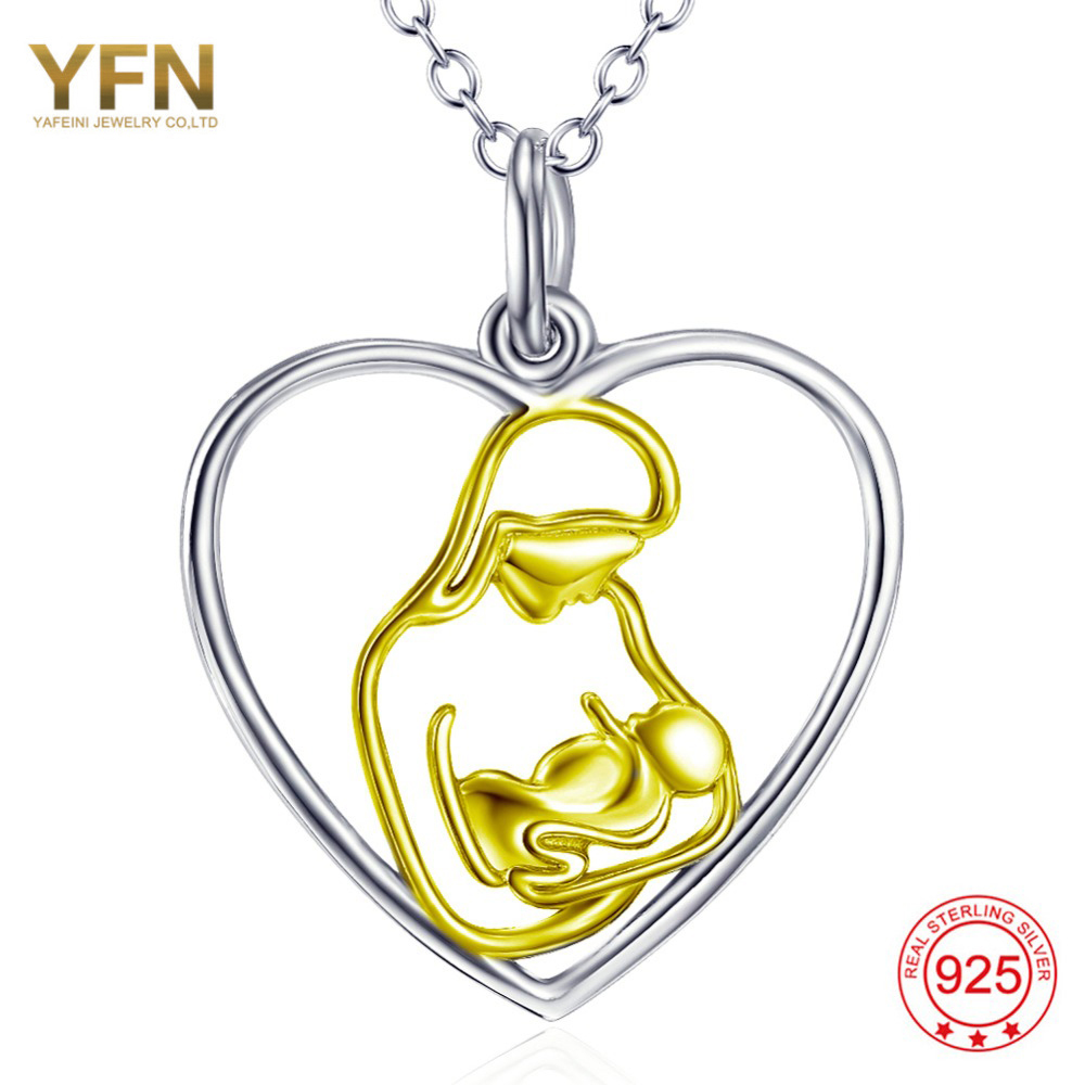 YAFEINI 925 Sterling Silver Jewelry The Womanly Art Of Breastfeeding Show For Mother Love Necklace GNX11958