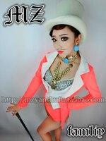 NEW ! Dj 2019 fashion big neon orange pink patchwork dovetail suit costumes women's brand stage singer clothing dance Coat