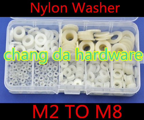 500pcs/lot m2 m3 m4 m5 m6 m8 white nylon washer kit with box 500pcs m2 m2 5 m3 m4 m5 m6 black plastic nylon washer flat spacer washer seals gasket ring 6 sizes