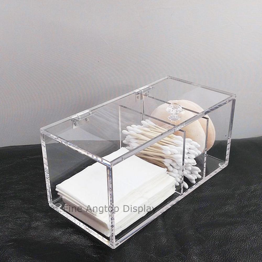 Acrylic Cotton Pad Swab Box Holder Cosmetic Box Jewelry Organizer storage Hinged Box muji japan 4 layers facial cotton pad 60 sheets x 2 box