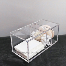Acrylic Cotton Pad Swab Box Holder Cosmetic Box Jewelry Organizer storage Hinged Box