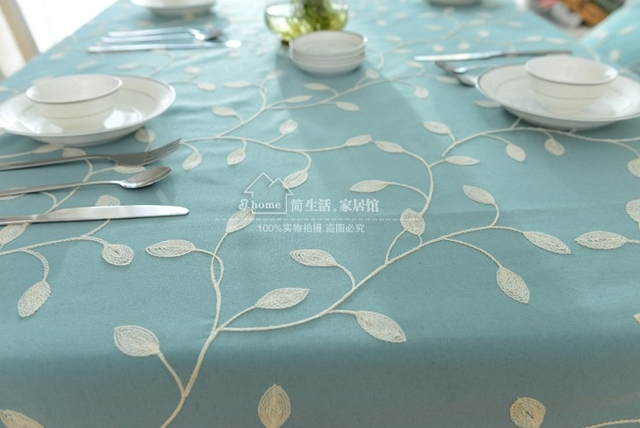 Floral Countryside Embroidery Round Tablecloth Fabric Sky Blue Round Table  Cloth Cover Rectangle Pastoral Leaves Natural