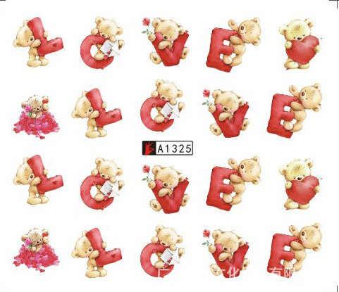 מדבקות מים מדבקת חמוד דוב אהבת מכתב ציפורני מחוון קישוטי אביזרים מניקור לסכל דבק כורכת פולני