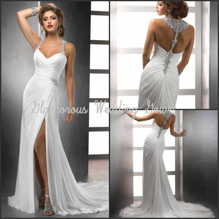 New Arrival 2014 Spaghetti Strap Wedding Dresses Crystals Backless