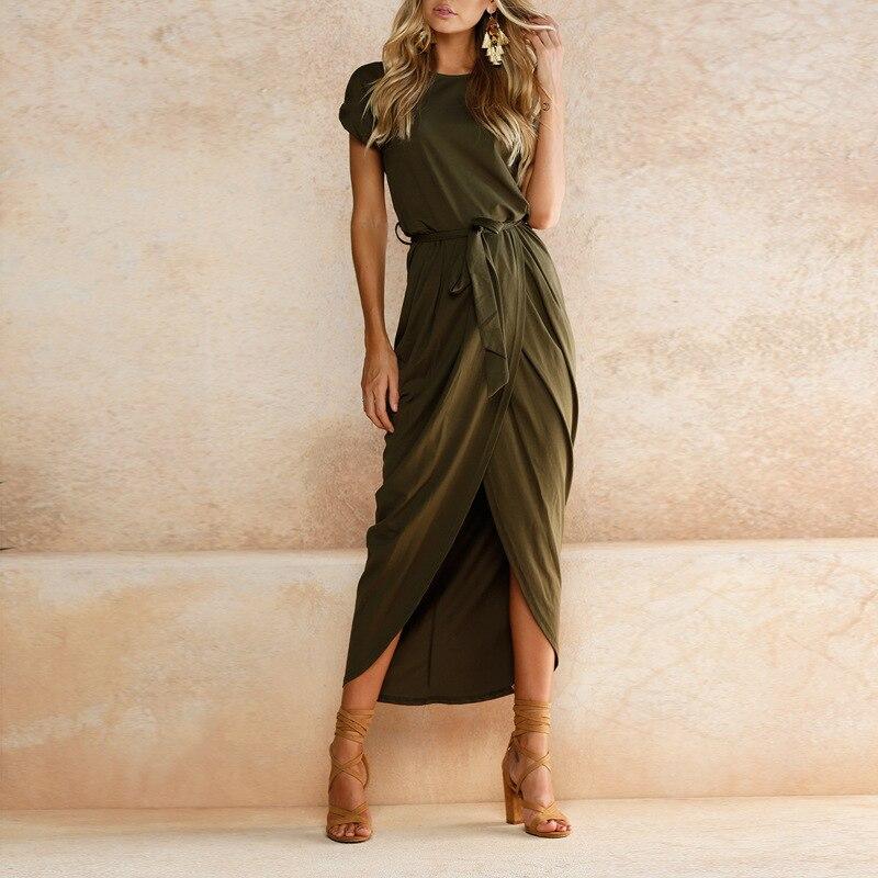 Women O-Neck Maxi Dress Summer Short Sleeve Solid Dress With Belt 2