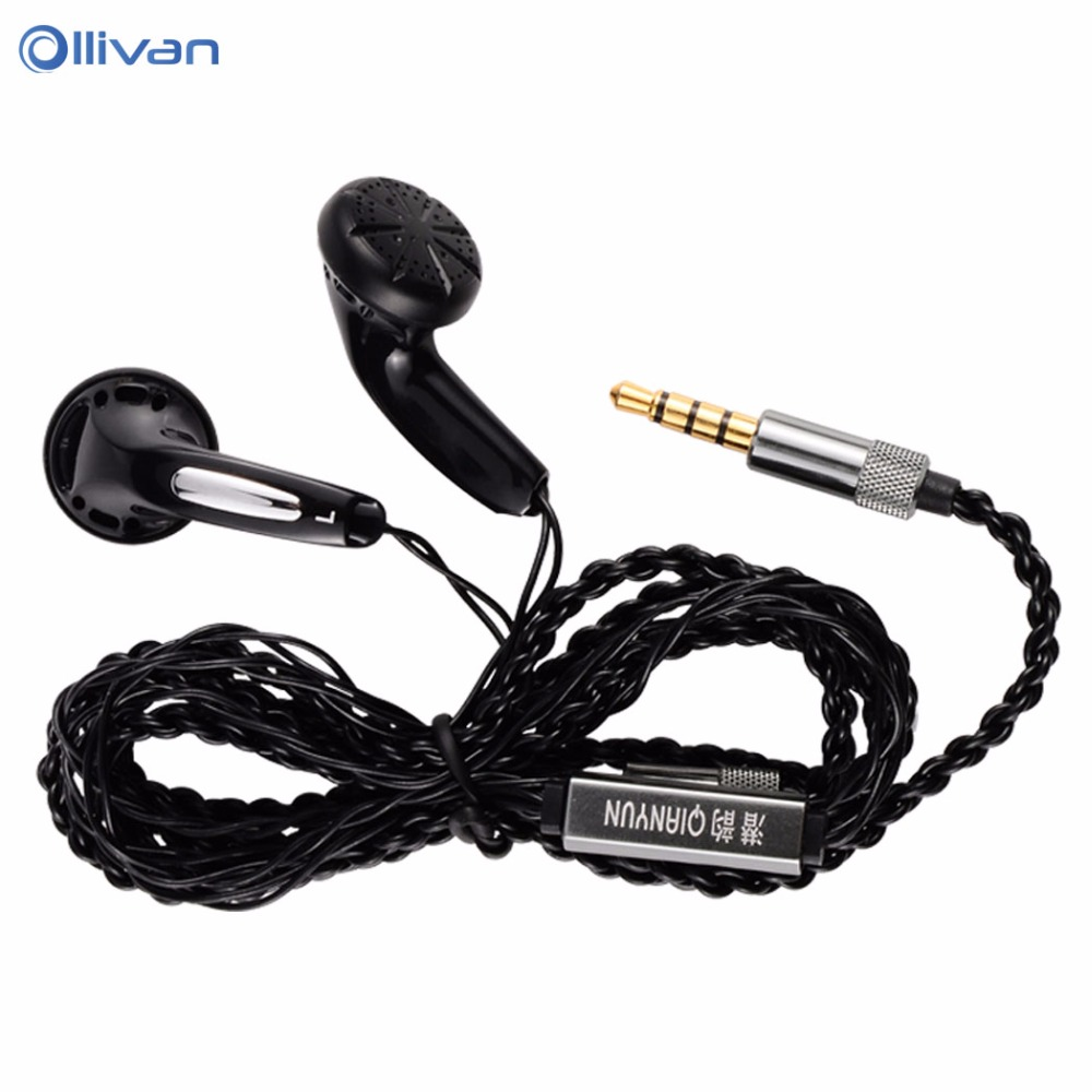 QianYun Qian25 In-ear Earphone Flat Head Earbuds 3.5mm Wired Headsets Super Bass HIFI Earphones Without Microphone For Xiaomi LG