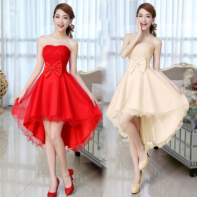 ee86b21f505 2016 Short Bridesmaid Dress Cheongsam Tube Top Lw-high Formal Dresses  Asymmetrical Bow Wedding Party