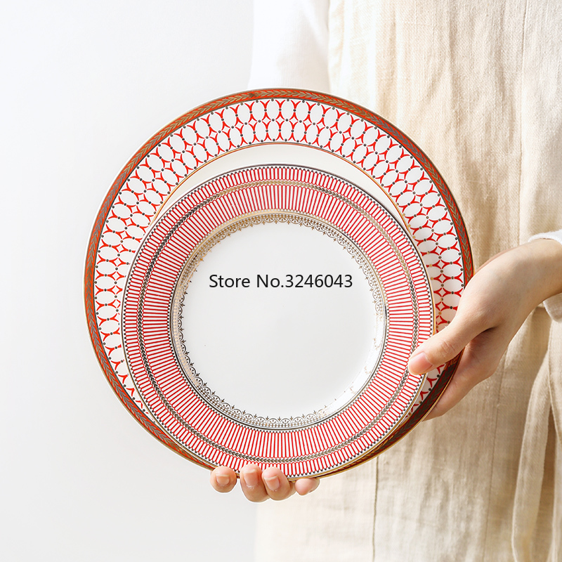 European bone china dessert plate Dishes and plates sets Ceramic western dish Afternoon tea snack cake plate sample room