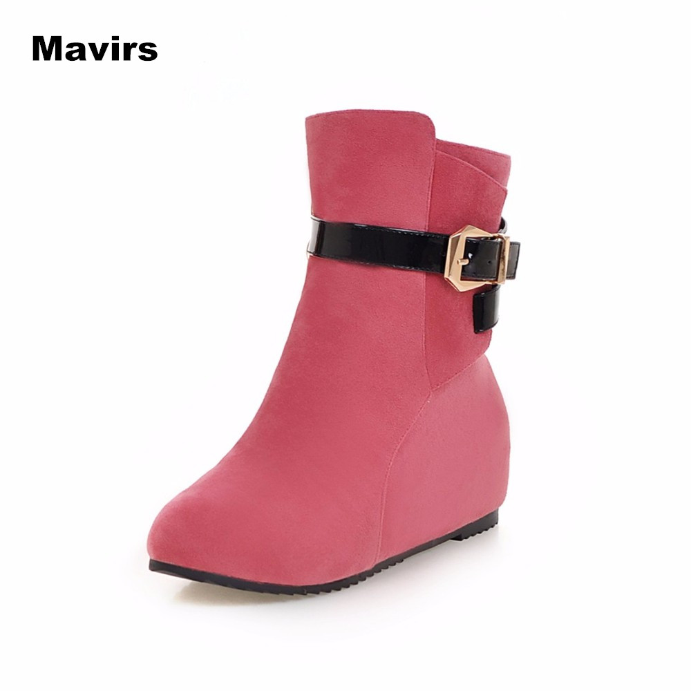 Mavirs Fashion women ladies girls college school students winter cold autumn winter snow zip pink black brown short boots shoes