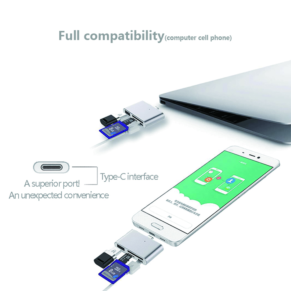 USB to Type-C Adapter with SD TF Card Reader, Mini Aluminum USB-C Hub OTG Reader 4 in 1 for Laptop Tablet Smartphone