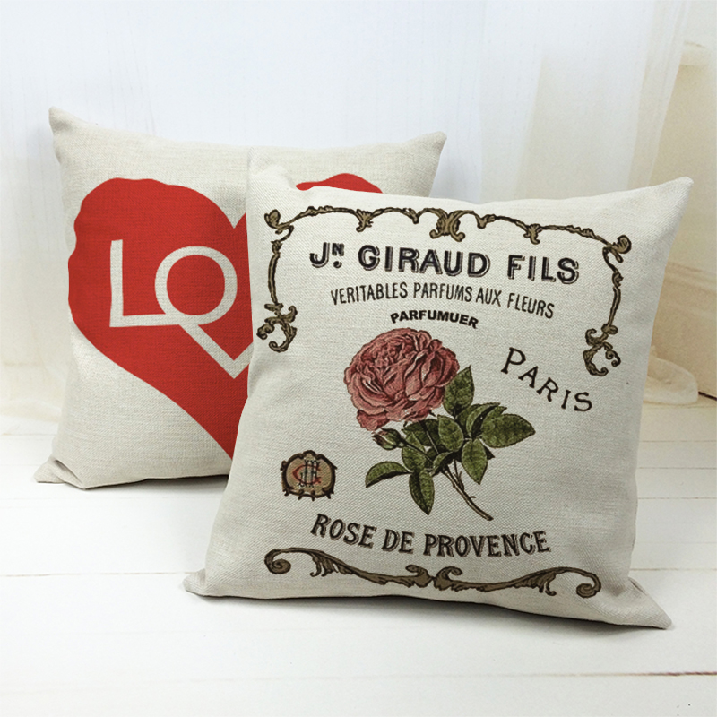 Plant Flowers Paris Cushion Rose Word Pillows Chinese Traditional Living Room Decorations Throw Pillow Cover Square Cotton Blend