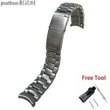 Jeathus pulseira de relógio, pulseira de aço inoxidável borda arco 20 22mm substituição para ômega seamaster 231 speedmaster planeta oceano