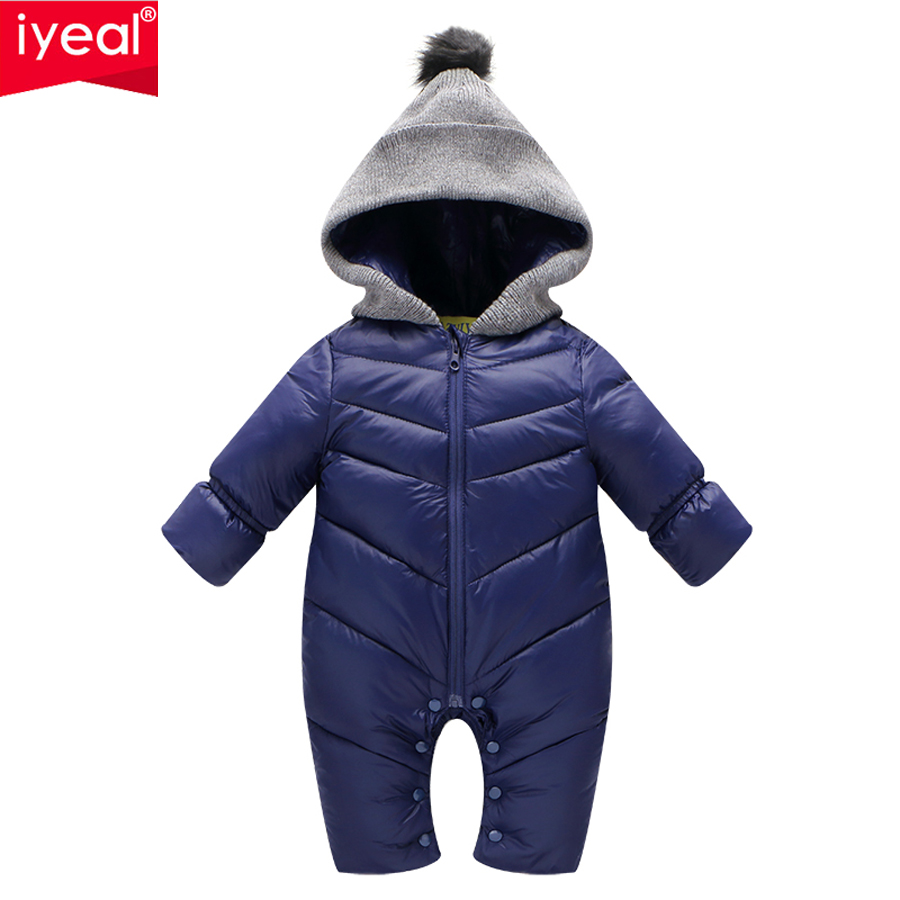 IYEAL Newborn Baby Romper Winter Overalls Long Sleeve Cotton Baby Boy Hooded Jumpsuit Warm Kids Girl Clothes Infant Outwear 3pcs set newborn infant baby boy girl clothes 2017 summer short sleeve leopard floral romper bodysuit headband shoes outfits