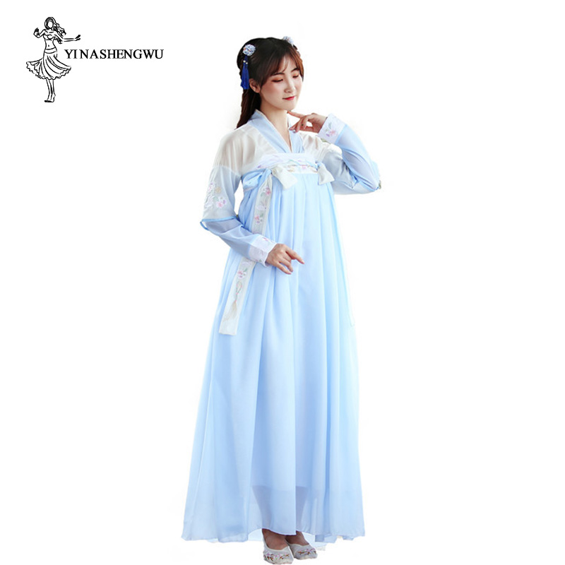 Hanfu Costume Dress Women Improved Hanfu Daily Short Sleeve Hanfu Embroidered Crossdresses Costumes Han Elements Student Set 30