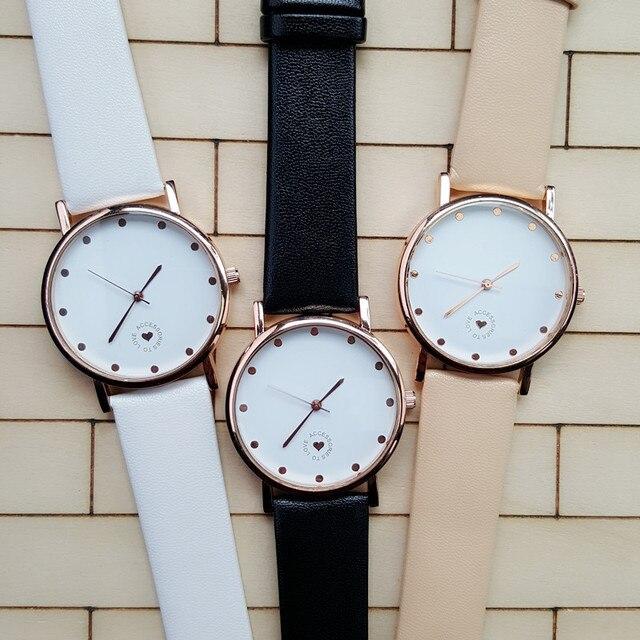 Horloge Om vrouwen horloge 2016 nieuwe accessoires om liefde beige lederen band