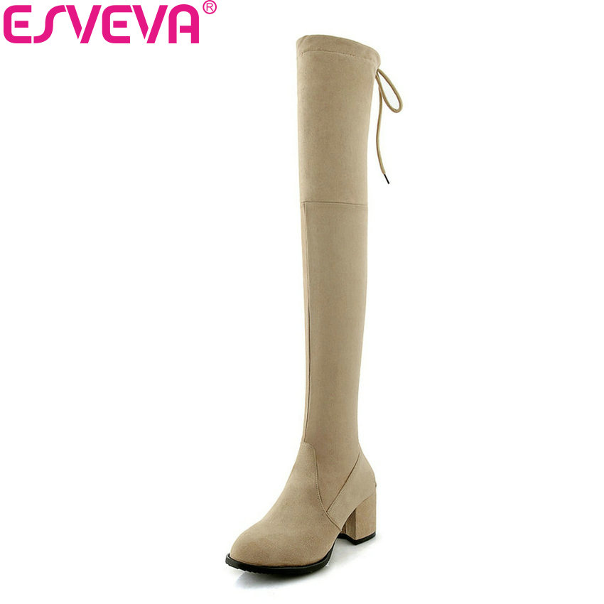ESVEVA 2019 Women Boots Lace Up High Heels Round Toe Square Heels Shoes Woman Over The Knee Boots Solid Winter Shoes Size 34-43 new women sexy lace up knee high boots high square heels women boots winter snow boots casual shoes woman large size 34 46