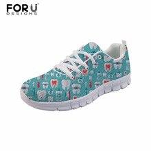 FORUDESIGNS/Женская обувь на плоской подошве с принтом для дантиста; женская обувь для стоматологического оборудования; повседневная женская обувь на плоской подошве со шнуровкой; zapatos mujer