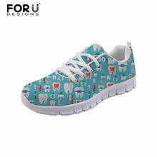 FORUDESIGNS Dentist Printed Women Flat Shoes Стоматологическое оборудование Обувь для женщин Повседневная женская кружевная обувь Lady Zapatos Mujer