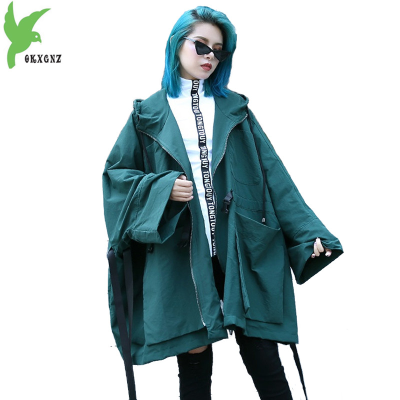 Trench   coat for women fashion Spring autumn Large size cloak Windbreaker Hooded top Big pocket Bat sleeve Loose coat female 2258
