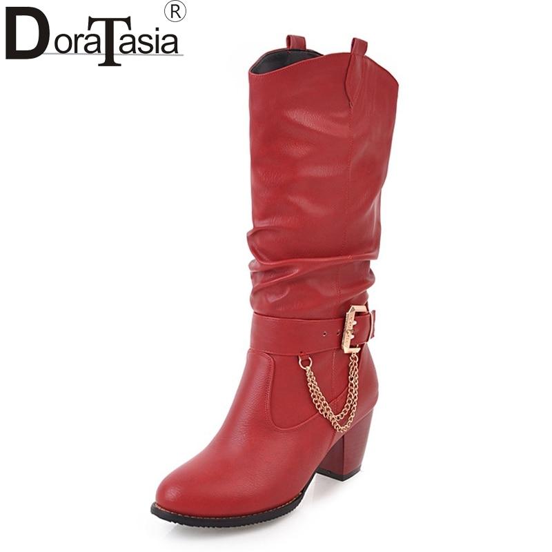 DoraTasia 2017 Large Size 33-47 Customize Platform Women Shoes Fashion Square Heels Woman Boot Black Western Boots Chains Winter doratasia 2017 large size 31 43 platform winter shoes women fashion lace up high heels brogue ankle boots wine black beige