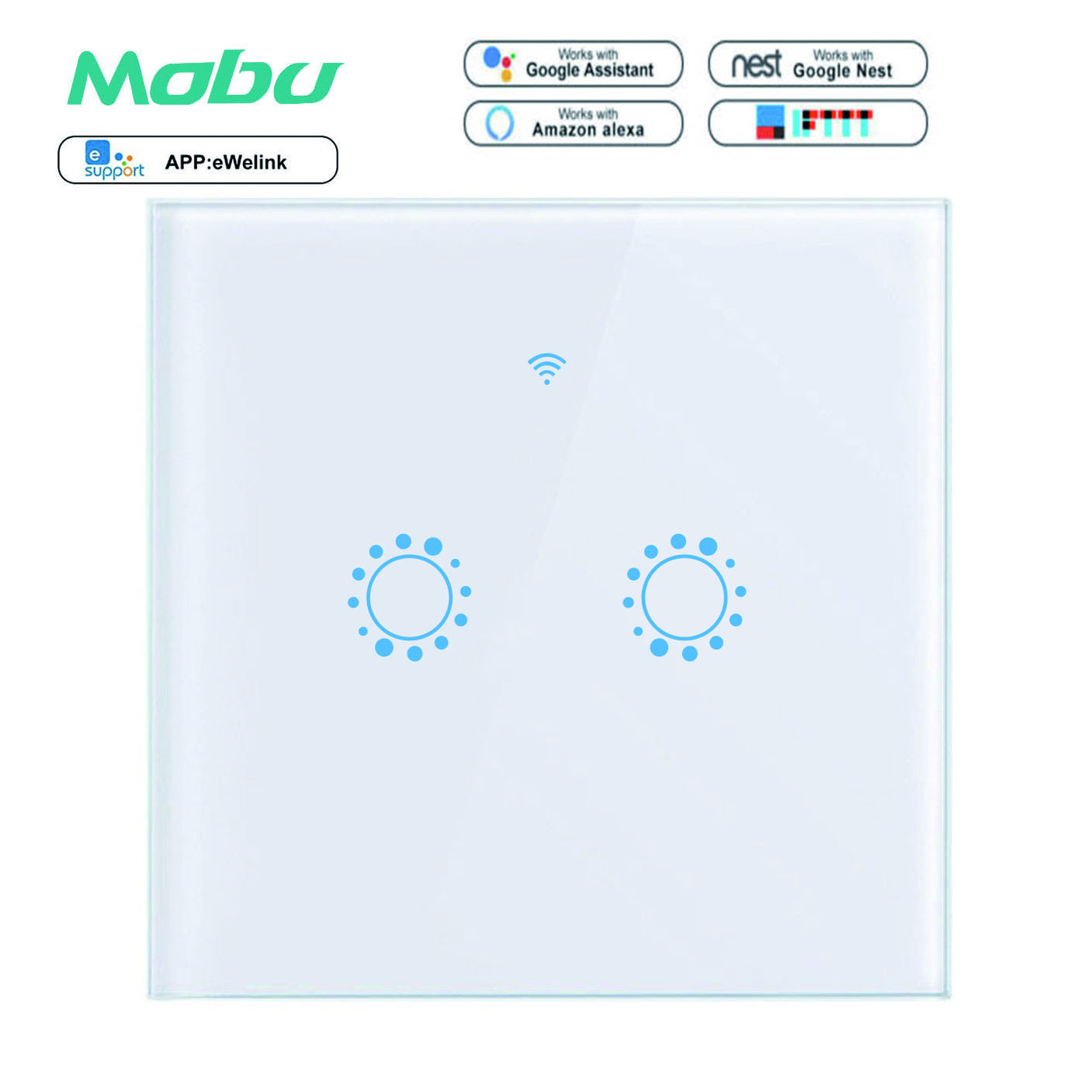 Mobu Touch Switch Smart Light Switch Panel Wall interruptor 2 Gang wifi light switch US/EU Standard Work with Alexa Google HomeMobu Touch Switch Smart Light Switch Panel Wall interruptor 2 Gang wifi light switch US/EU Standard Work with Alexa Google Home