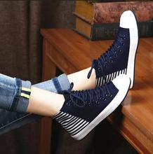 2016 high quality fashion canvas shoes style leisure trend with high help flat bottom shoes for  female casual shoes