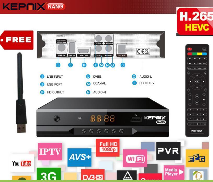 Hevc Satellite Récepteur vs gtmedia v7s dvb-s2 Kepnix nano h.265 iptv m3u xtream Soutien PowerVu Biss ccam Youtube Wifi usb