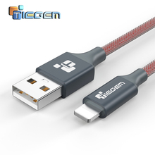 TIEGEM 2A USB Charger Cable For iphone 5 5s 6 8 7 Plus X iOS 9 10 1/2/3M Nylon Fast Charging Cables