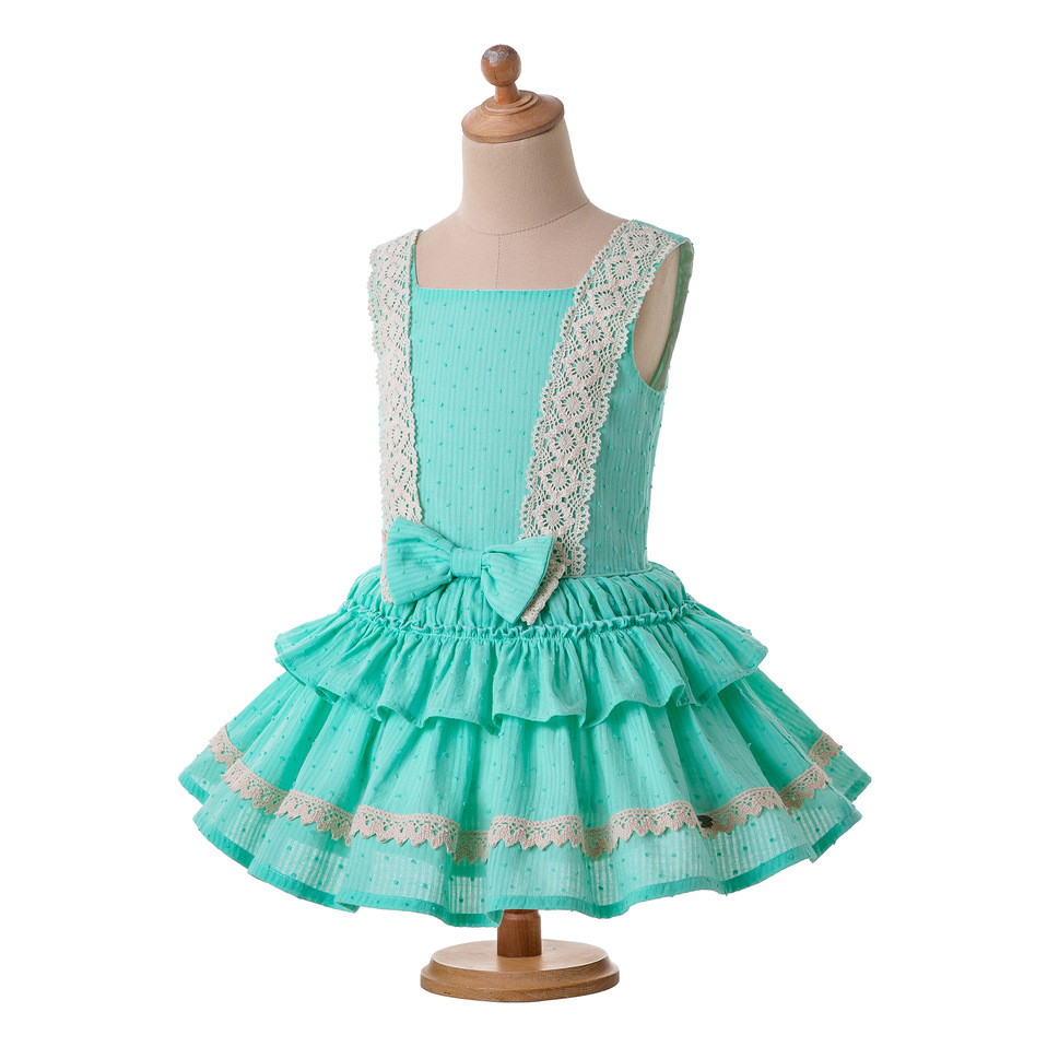 Pettigirl Mint Green Girl Dress Lace Strape Dress Summer with Cute Bow and Layers Children Wear G DMGD203 36-in Dresses from Mother & Kids    3