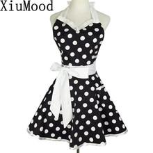 Купить с кэшбэком XiuMood Retro Cute Sexy Waiter Apron Dress With Pocket Cotton White Lace Black Polka Dot Kitchen Chef Cooking Aprons For Woman