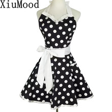 XiuMood Retro Cute Sexy Waiter Apron Dress With Pocket Cotton White Lace Black Polka Dot Kitchen Chef Cooking Aprons For Woman